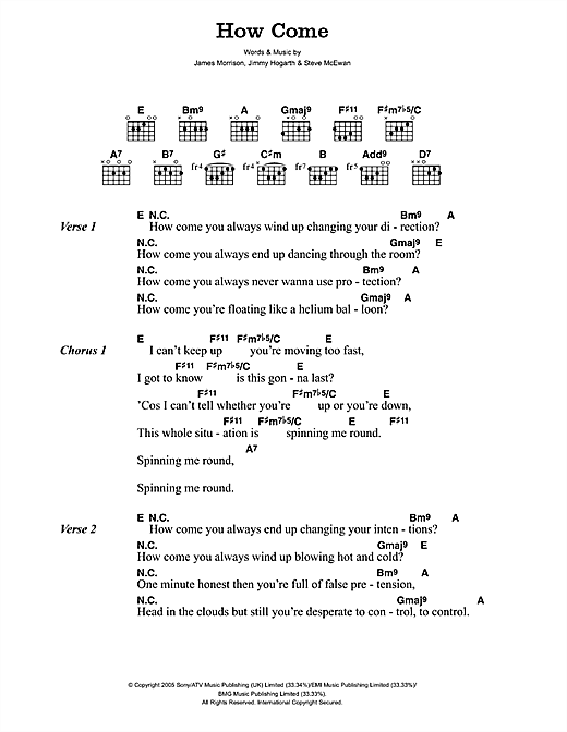 James Morrison How Come sheet music notes and chords. Download Printable PDF.