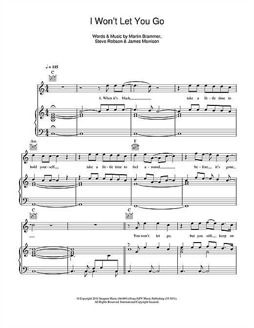 James Morrison I Won't Let You Go sheet music notes and chords
