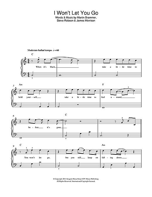 James Morrison I Won't Let You Go sheet music notes and chords. Download Printable PDF.
