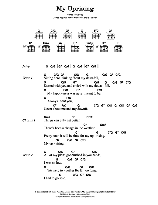 James Morrison My Uprising sheet music notes and chords. Download Printable PDF.