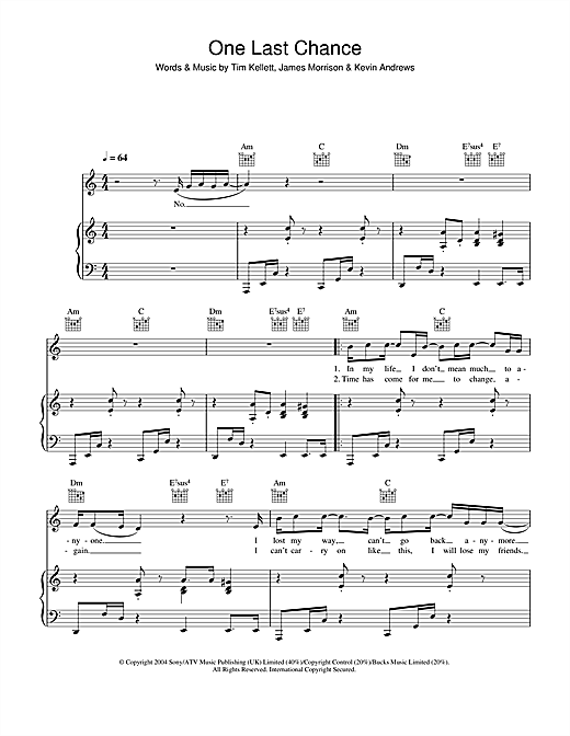 James Morrison One Last Chance sheet music notes and chords. Download Printable PDF.