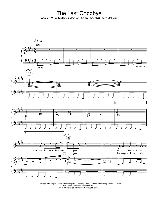James Morrison The Last Goodbye sheet music notes and chords. Download Printable PDF.