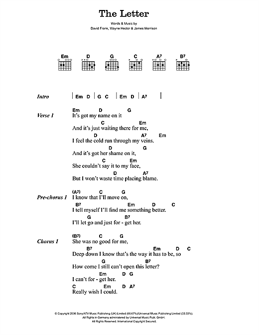 James Morrison The Letter sheet music notes and chords. Download Printable PDF.