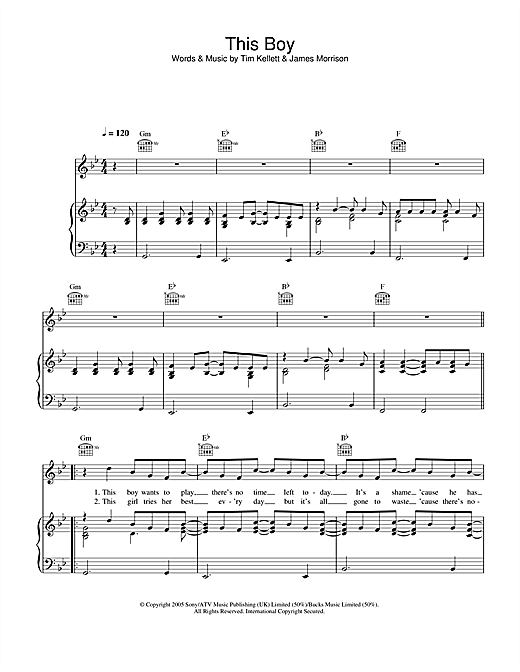 James Morrison This Boy sheet music notes and chords. Download Printable PDF.