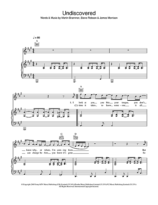 James Morrison Undiscovered sheet music notes and chords. Download Printable PDF.
