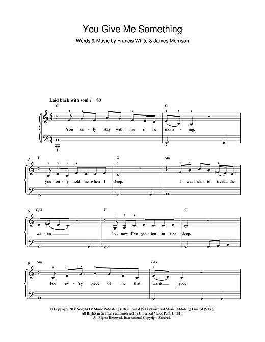 James Morrison You Give Me Something sheet music notes and chords. Download Printable PDF.
