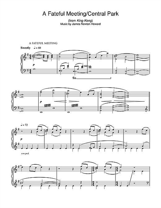 James Newton Howard A Fateful Meeting/Central Park (from King Kong) sheet music notes and chords. Download Printable PDF.