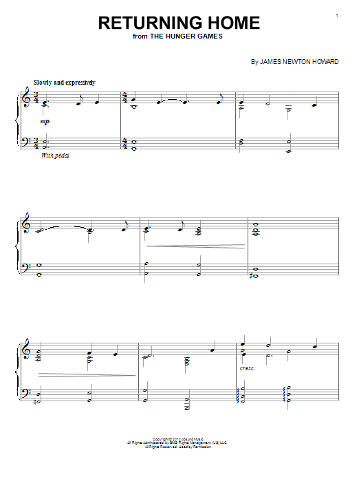 James Newton Howard Returning Home sheet music notes and chords. Download Printable PDF.