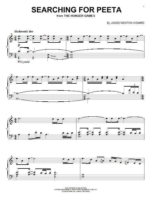 James Newton Howard Searching For Peeta sheet music notes and chords. Download Printable PDF.
