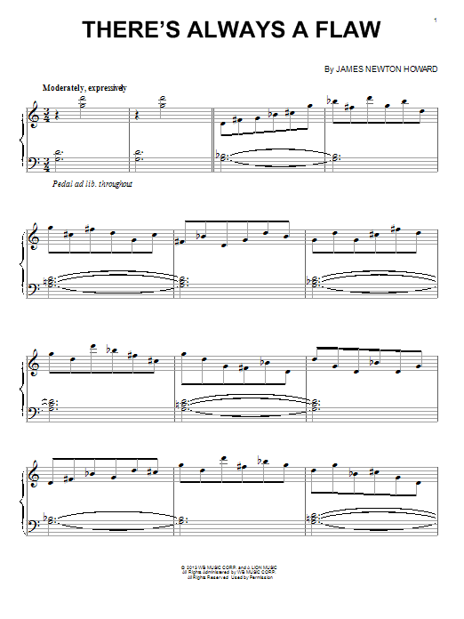 James Newton Howard There's Always A Flaw sheet music notes and chords. Download Printable PDF.