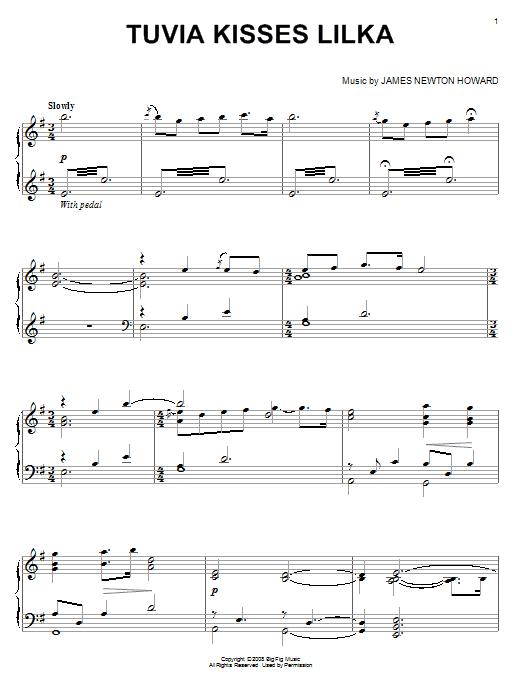 James Newton Howard Tuvia Kisses Lilka sheet music notes and chords