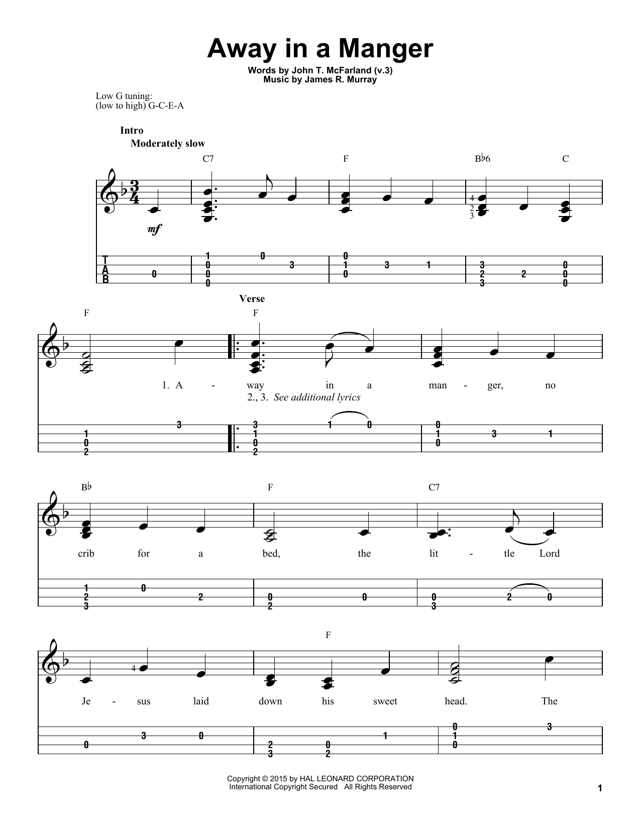 James R. Murray Away In A Manger sheet music notes and chords. Download Printable PDF.