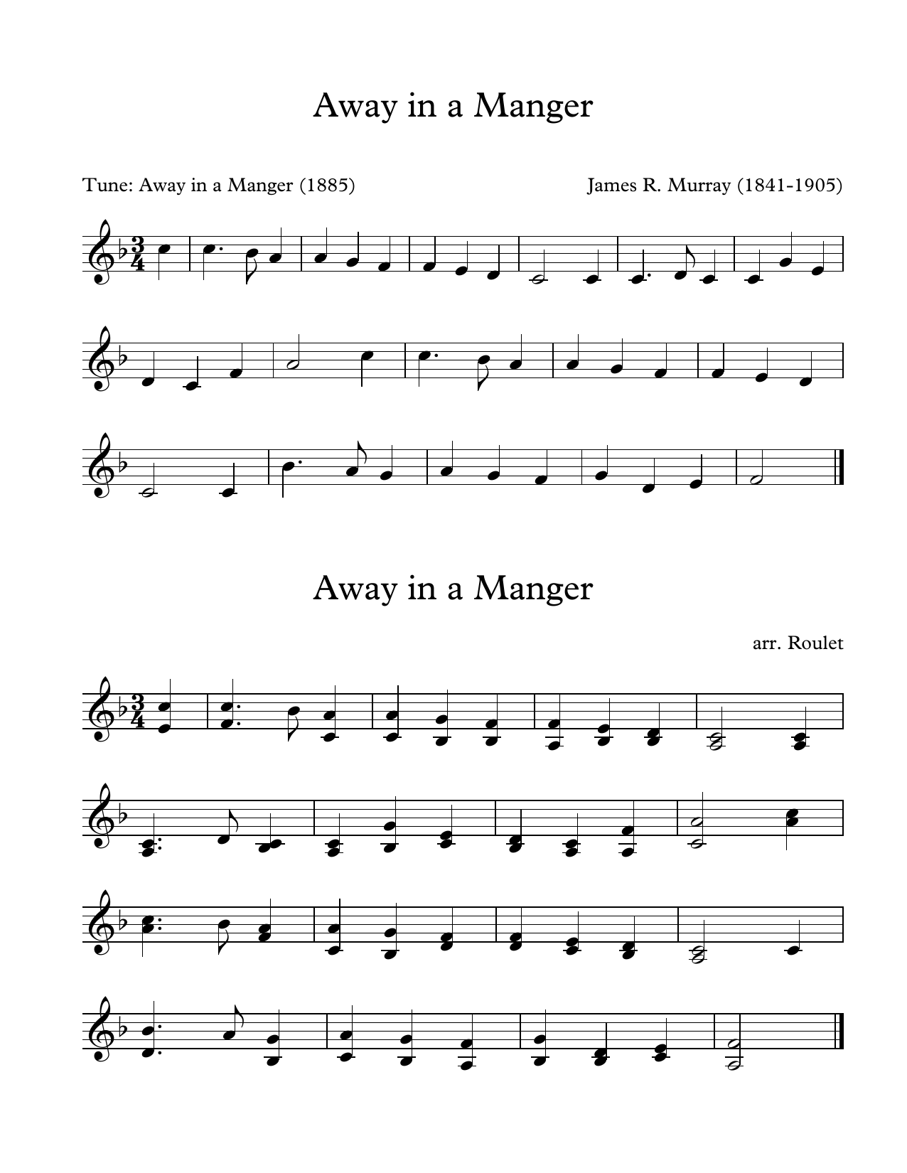 James R. Murray Away In A Manger (arr. Patrick Roulet) sheet music notes and chords. Download Printable PDF.