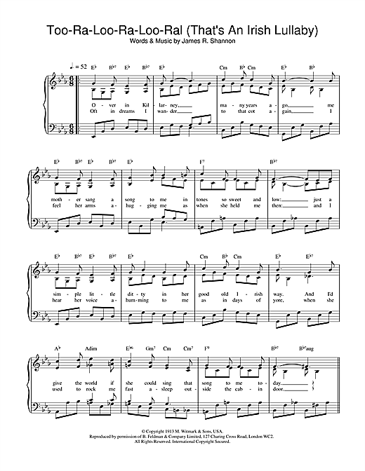James R. Shannon Too-Ra-Loo-Ra-Loo-Ral (That's An Irish Lullaby) sheet music notes and chords