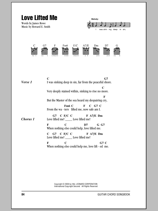 James Rowe Love Lifted Me sheet music notes and chords. Download Printable PDF.
