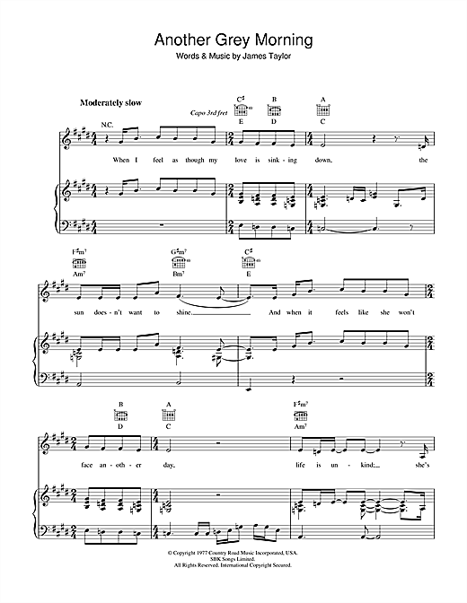 James Taylor Another Grey Morning sheet music notes and chords. Download Printable PDF.