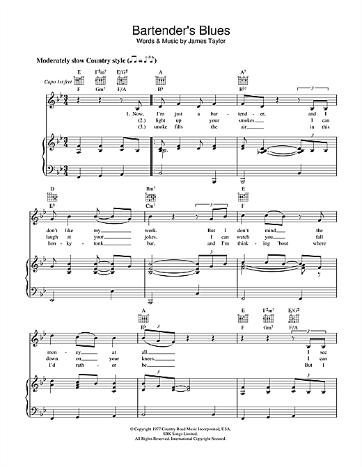 James Taylor Bartender's Blues sheet music notes and chords. Download Printable PDF.