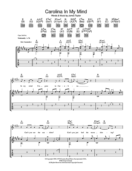 James Taylor Carolina In My Mind sheet music notes and chords. Download Printable PDF.