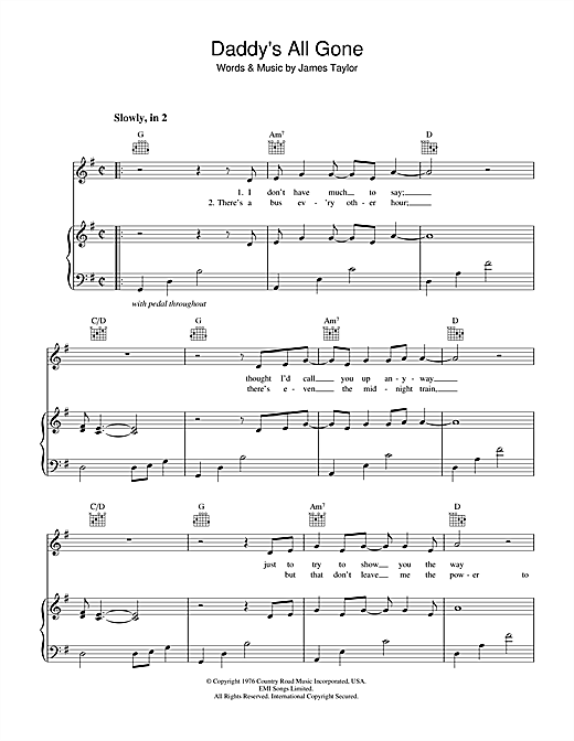 James Taylor Daddy's All Gone sheet music notes and chords. Download Printable PDF.