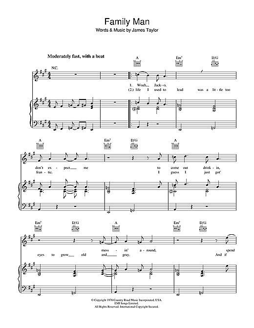 James Taylor Family Man sheet music notes and chords. Download Printable PDF.