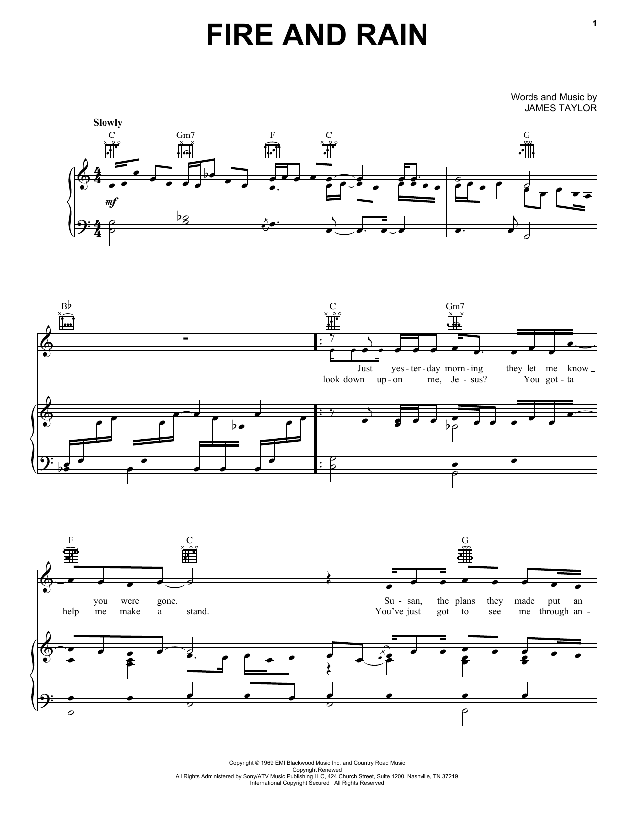 James Taylor Fire And Rain sheet music notes and chords. Download Printable PDF.