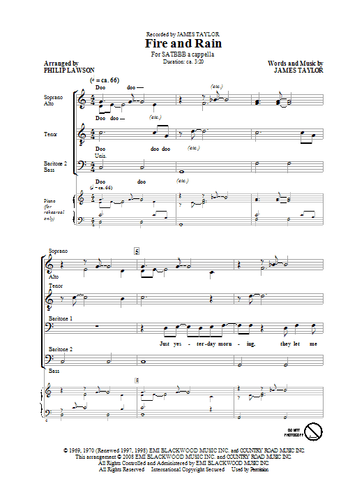 James Taylor Fire And Rain (arr. Philip Lawson) sheet music notes and chords