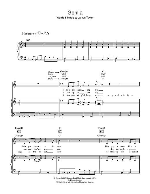 James Taylor Gorilla sheet music notes and chords. Download Printable PDF.