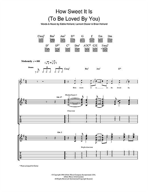 James Taylor How Sweet It Is (To Be Loved By You) sheet music notes and chords. Download Printable PDF.