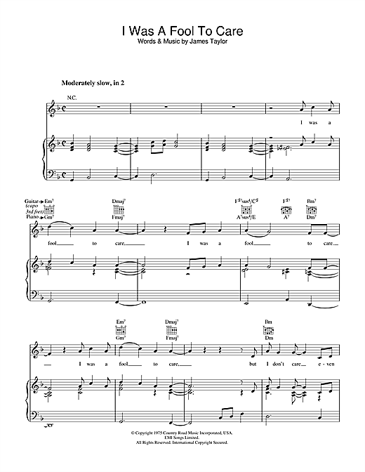 James Taylor I Was A Fool To Care sheet music notes and chords. Download Printable PDF.