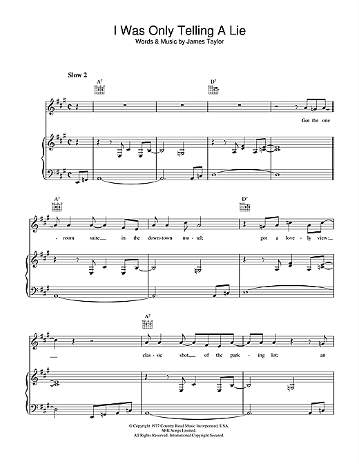 James Taylor I Was Only Telling A Lie sheet music notes and chords. Download Printable PDF.