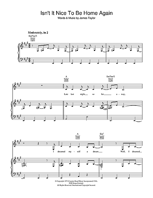 James Taylor Isn't It Nice To Be Home Again sheet music notes and chords. Download Printable PDF.