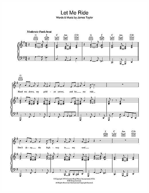 James Taylor Let Me Ride sheet music notes and chords. Download Printable PDF.