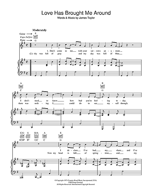 James Taylor Love Has Brought Me Around sheet music notes and chords. Download Printable PDF.