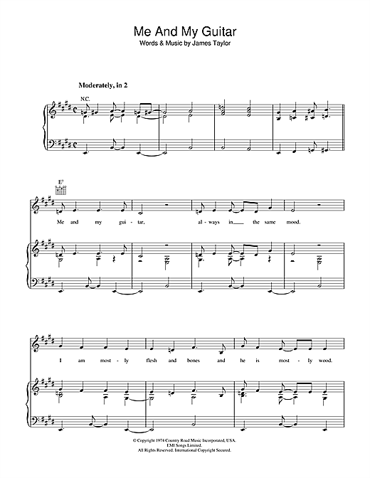 James Taylor Me And My Guitar sheet music notes and chords. Download Printable PDF.