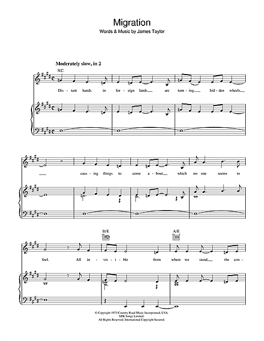 James Taylor Migration sheet music notes and chords. Download Printable PDF.
