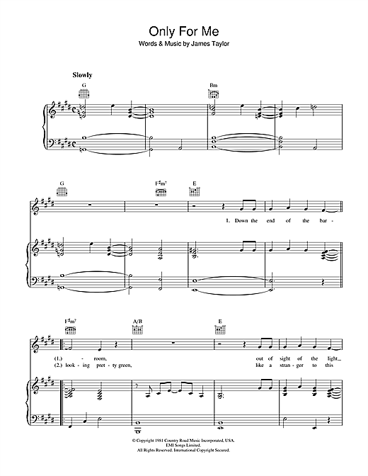 James Taylor Only For Me sheet music notes and chords. Download Printable PDF.