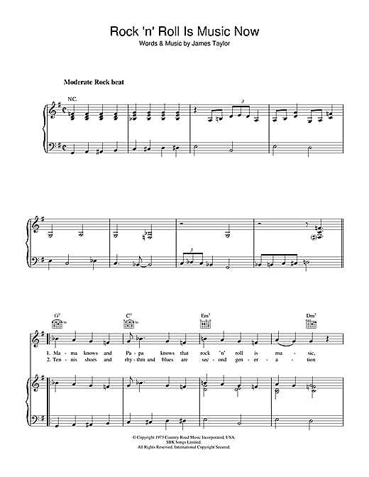 James Taylor Rock 'n' Roll Is Music Now sheet music notes and chords. Download Printable PDF.