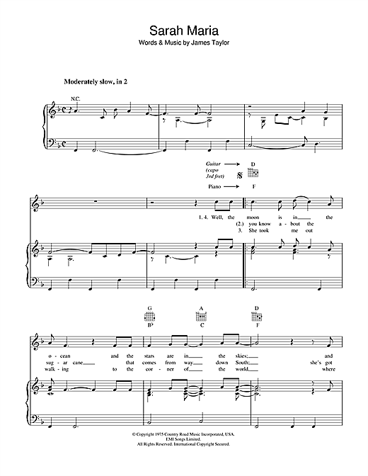 James Taylor Sarah Maria sheet music notes and chords. Download Printable PDF.