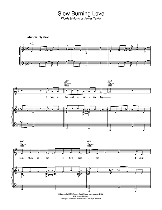 James Taylor Slow Burning Love sheet music notes and chords. Download Printable PDF.