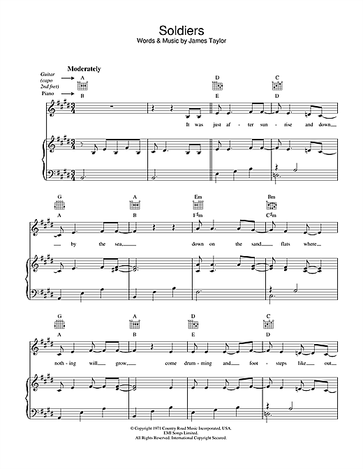 James Taylor Soldiers sheet music notes and chords. Download Printable PDF.