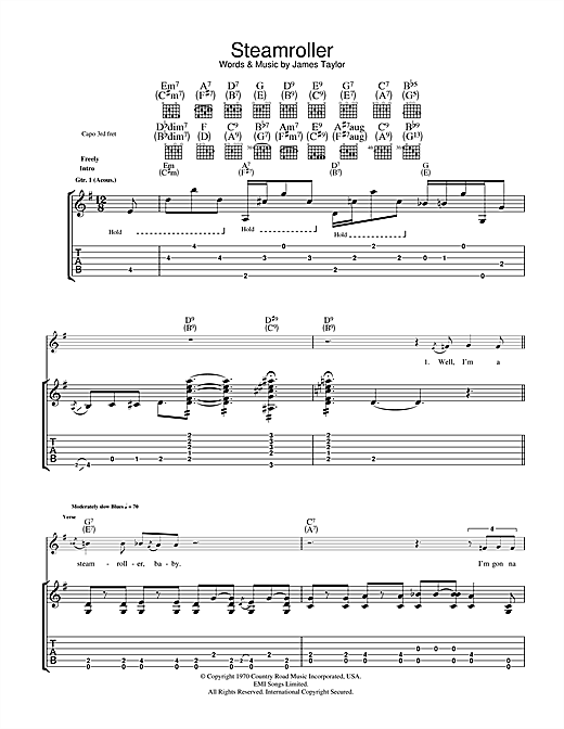 James Taylor Steam Roller sheet music notes and chords. Download Printable PDF.