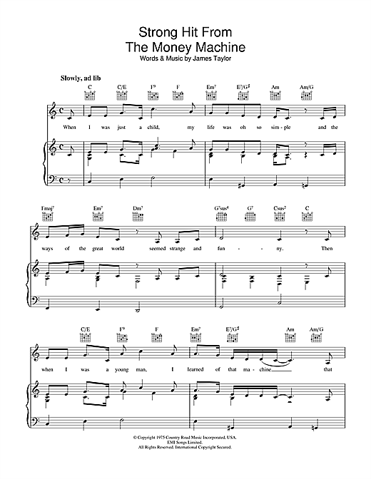 James Taylor Strong Hit From The Money Machine sheet music notes and chords. Download Printable PDF.