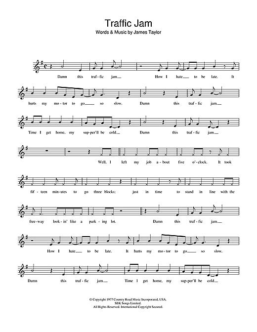 James Taylor Traffic Jam sheet music notes and chords. Download Printable PDF.