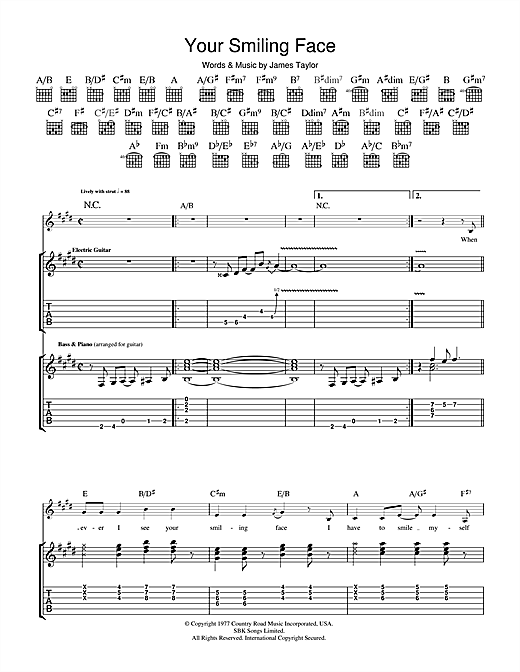 James Taylor Your Smiling Face sheet music notes and chords. Download Printable PDF.