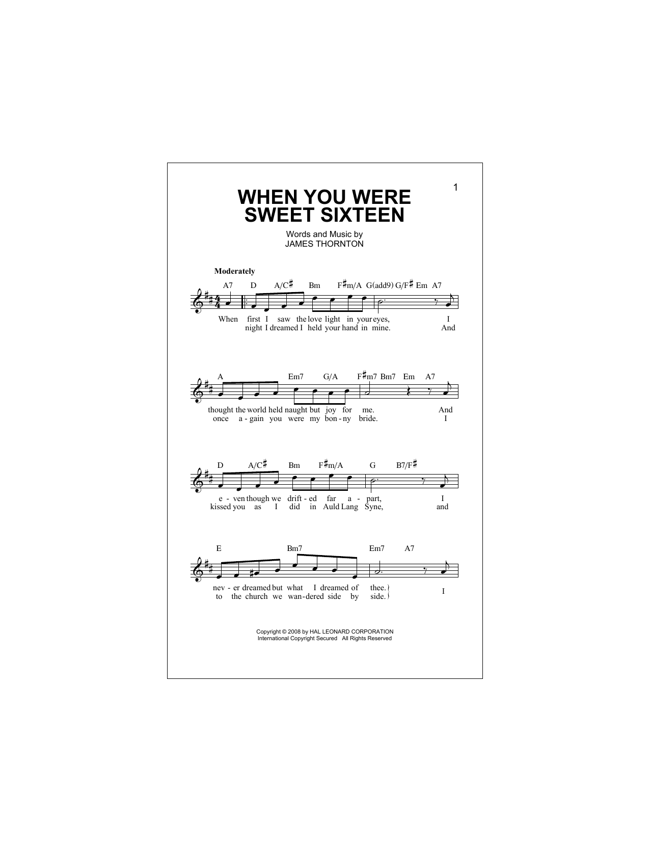 James Thornton When You Were Sweet Sixteen sheet music notes and chords. Download Printable PDF.