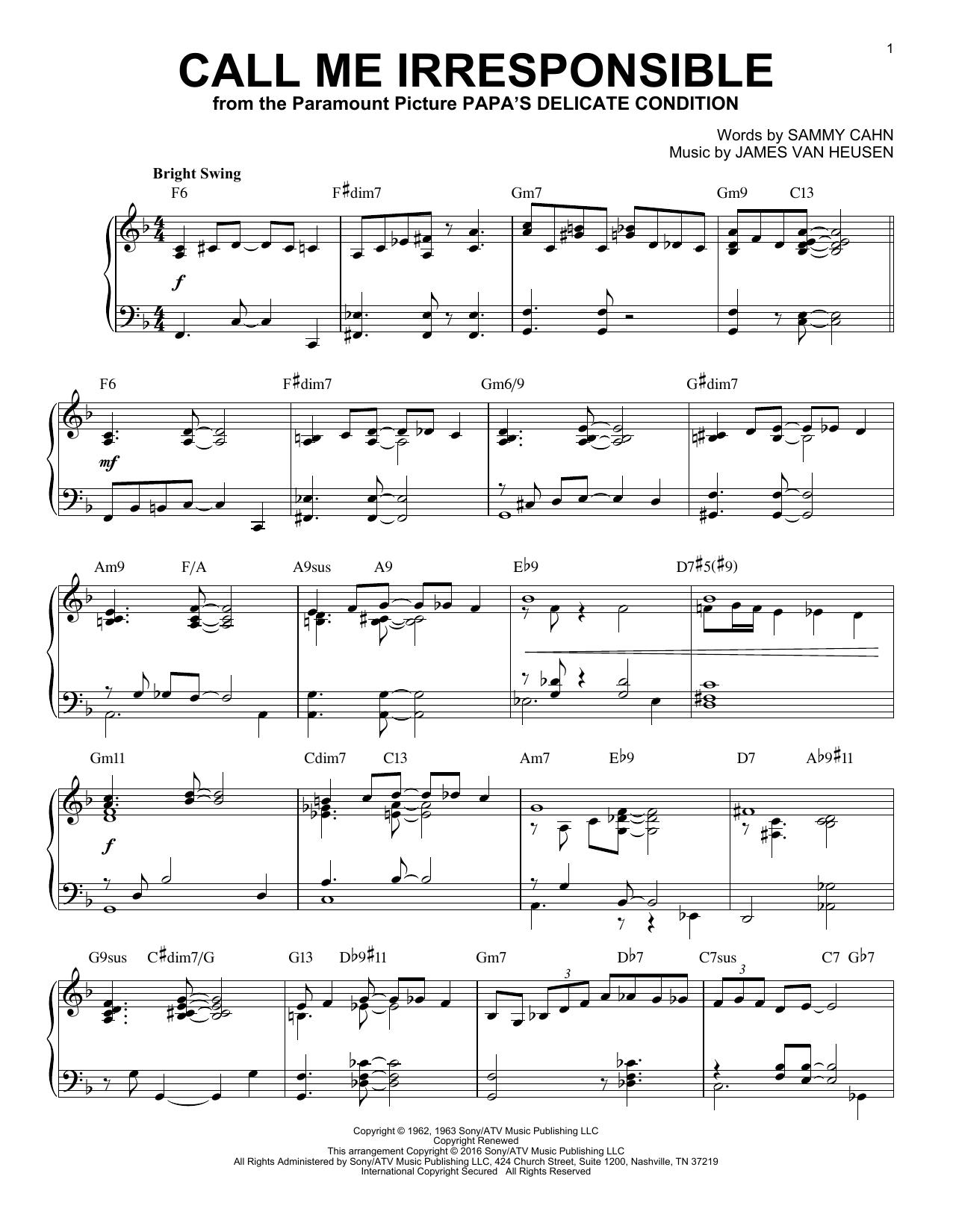 James Van Heusen Call Me Irresponsible [Jazz version] (arr. Brent Edstrom) sheet music notes and chords. Download Printable PDF.