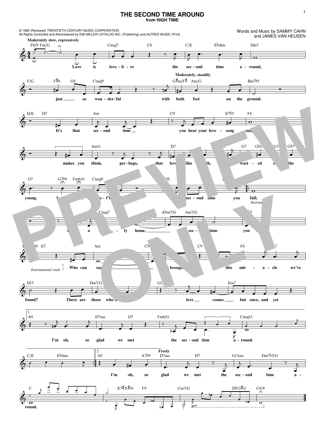 James Van Heusen The Second Time Around sheet music notes and chords. Download Printable PDF.