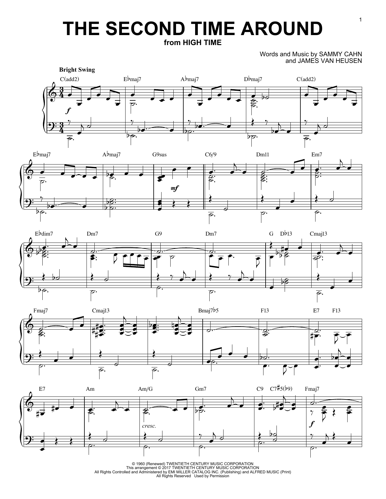 James Van Heusen The Second Time Around [Jazz version] sheet music notes and chords. Download Printable PDF.