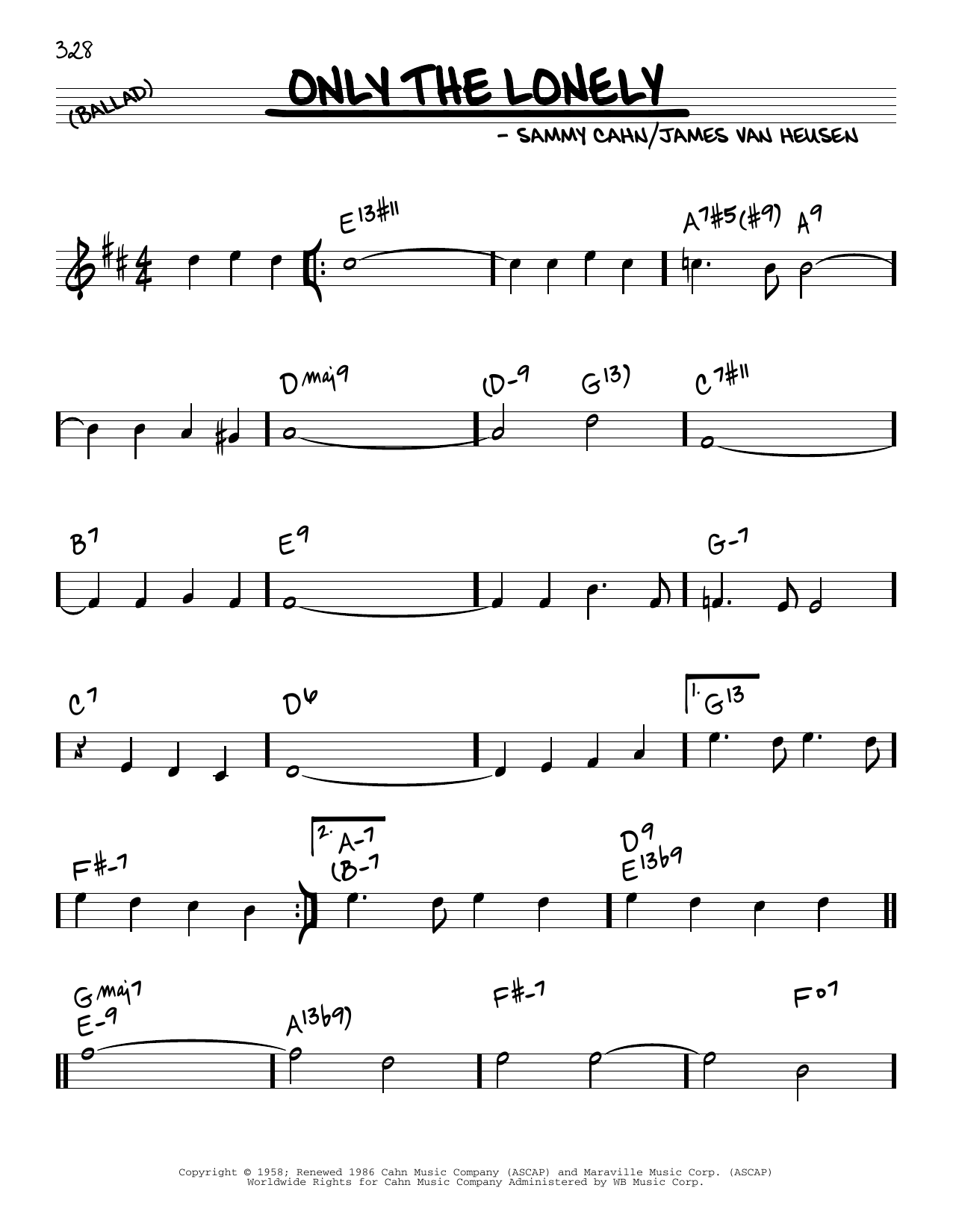 James Van Heusen and Sammy Cahn Only The Lonely sheet music notes and chords. Download Printable PDF.