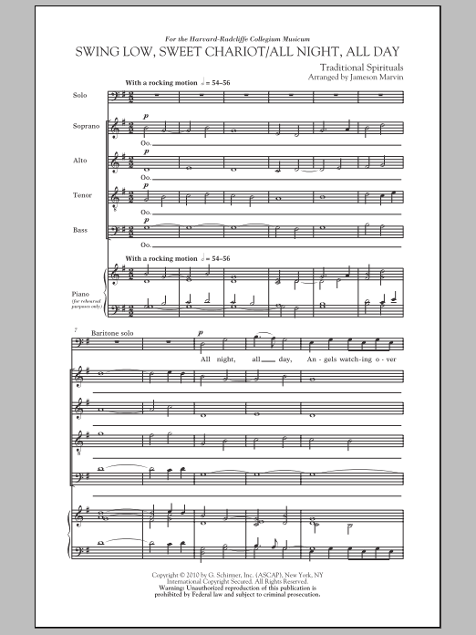 Jameson Marvin Swing Low, Sweet Chariot / All Night, All Day sheet music notes and chords. Download Printable PDF.